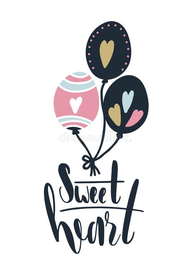 Cartão com o querido da rotulação da caligrafia Ilustração do vetor com ballons e corações ilustração royalty free