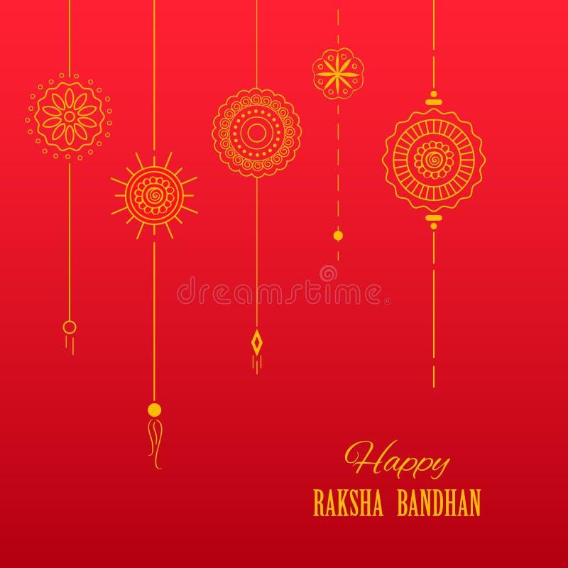 Cartão com o Rakhi decorativo para o fundo de Raksha Bandhan ilustração royalty free
