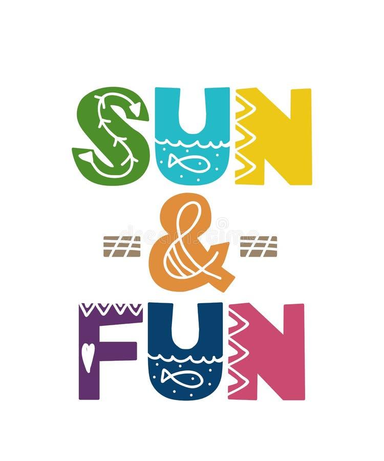 Cartão com o sol e o divertimento da rotulação dos desenhos animados Ilustração do vetor ilustração stock