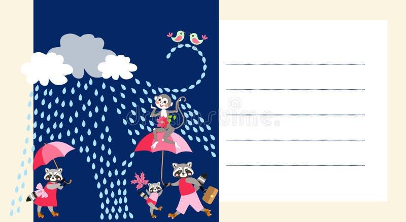Cartão com os animais bonitos dos desenhos animados Convite da festa do bebê Espaço para o texto ilustração royalty free