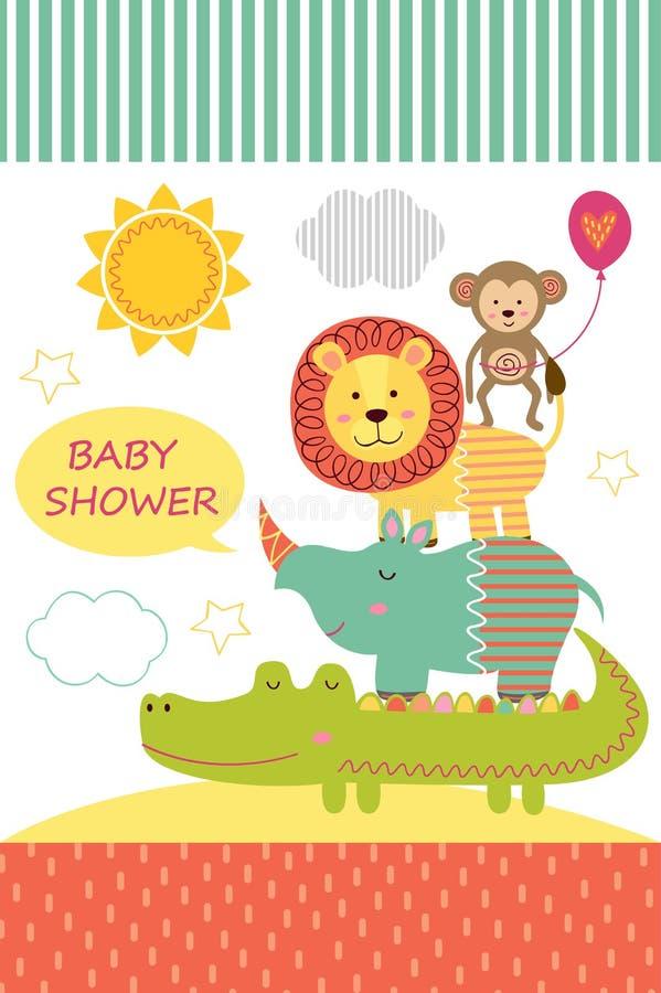 Cartão com os animais da selva do bebê ilustração stock