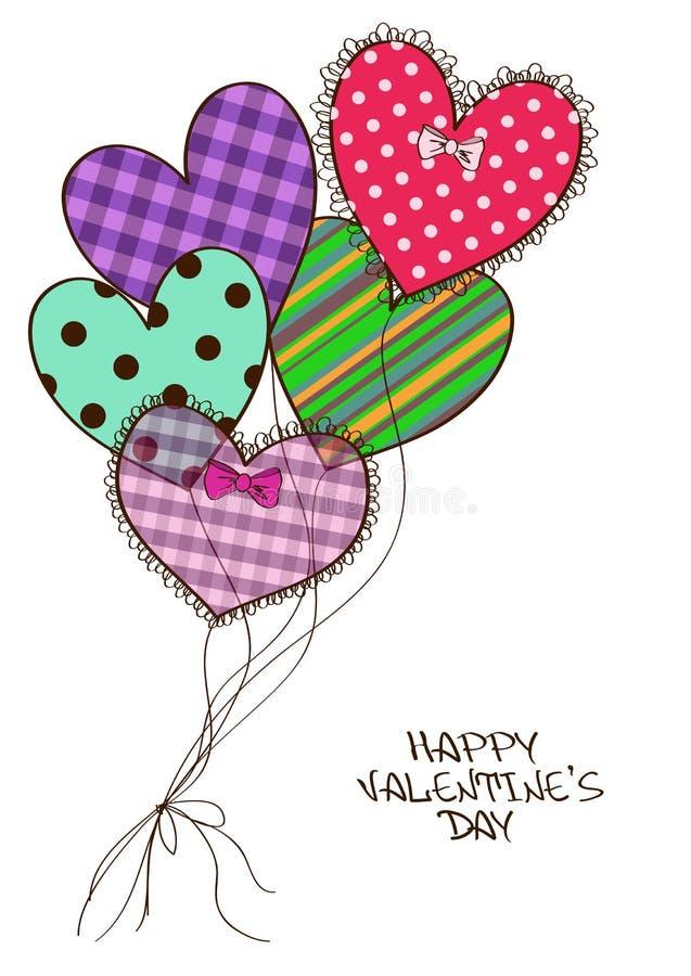 Cartão com os balões de ar do coração do registro da sucata ilustração stock
