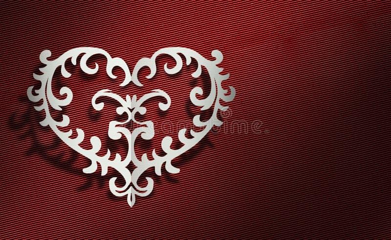 Cartão com os corações feitos do papel com um fundo vermelho ilustração royalty free