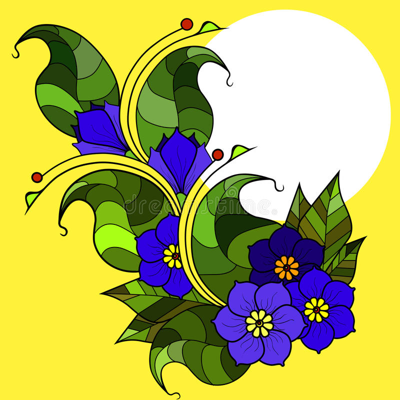 Cartão com os galhos abstratos com flores Imagem do vetor fotos de stock