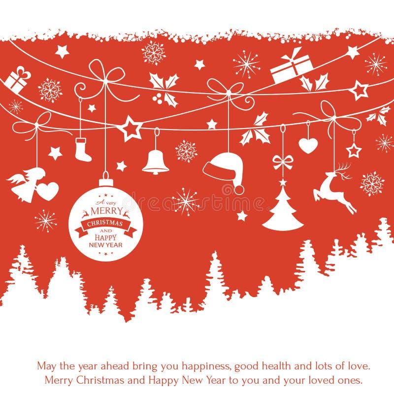 Cartão com os ornamento de suspensão do Natal sobre a paisagem da árvore de abeto ilustração do vetor
