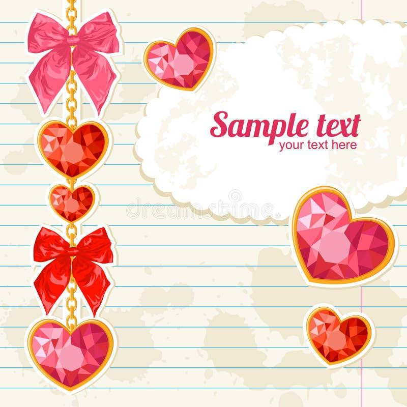 Cartão com suspensão brilhante dos pendentes do coração do rubi ilustração stock