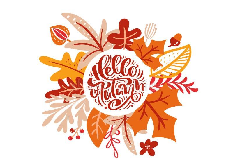 Cartão com outono do texto olá! Folhas alaranjadas do bordo, da árvore vermelha da folha, do carvalho e de vidoeiro, cartaz da es ilustração stock