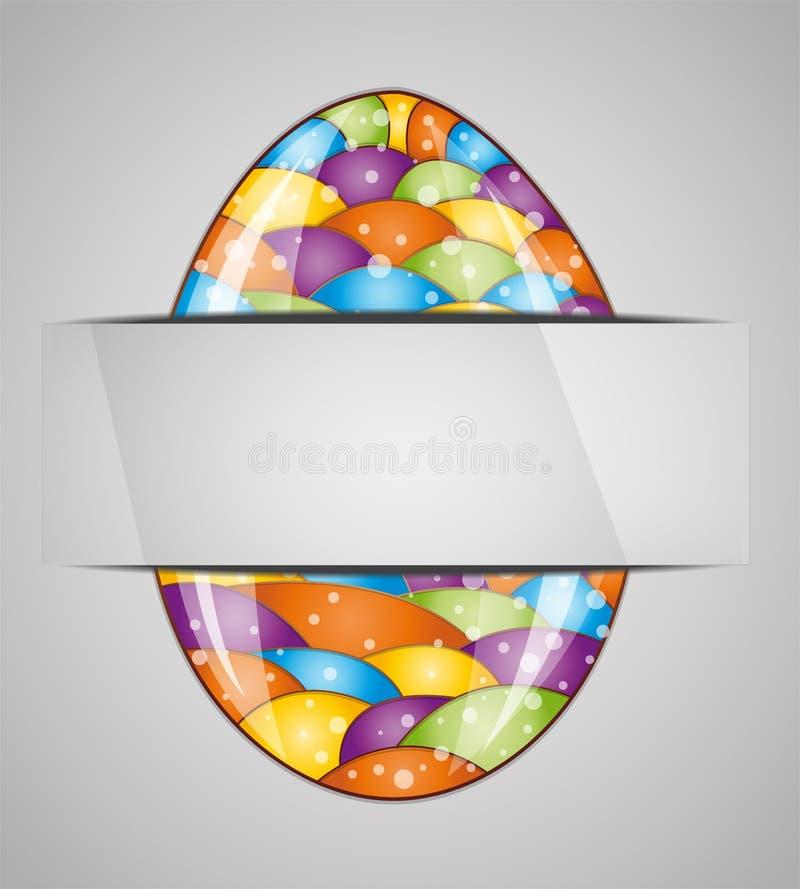 Cartão com ovo da páscoa colorido ilustração royalty free