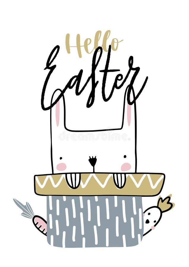 Cartão com a Páscoa da rotulação da caligrafia com coelho e filhote de passarinho Ilustração do vetor para a Páscoa ilustração royalty free