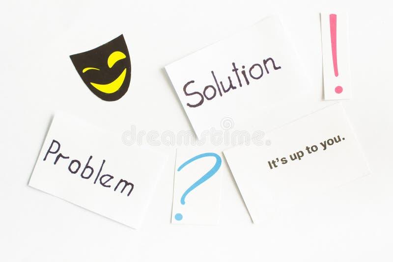 Cartão com palavras & x22; problem& x22; , & x22; solution& x22; , ponto de interrogação, ponto de exclamação imagem de stock royalty free