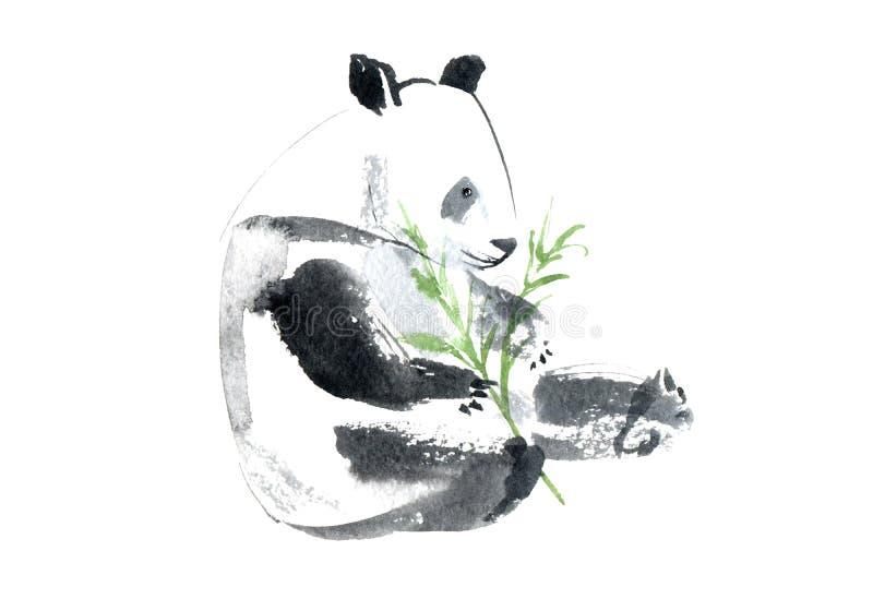 Cartão com panda e bambu Cartão com animais ilustração royalty free