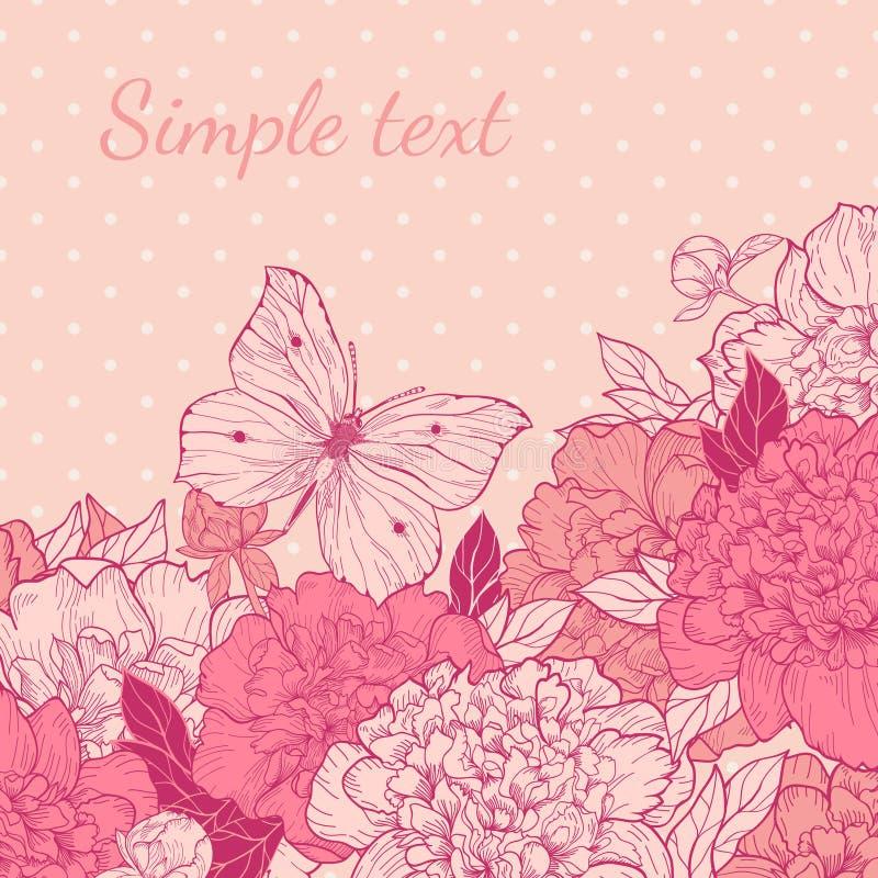 Cartão com peônia e borboleta ilustração royalty free