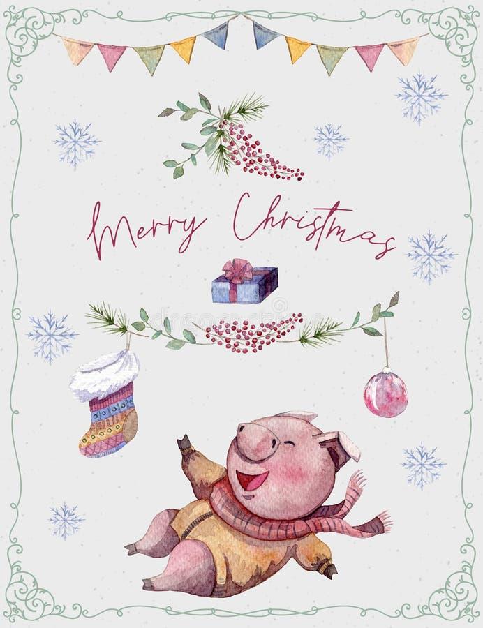 Cartão com porco bonito, árvore de abeto, peúga e flocos de neve e festão Personagem de banda desenhada engraçado Feliz Natal e s ilustração do vetor