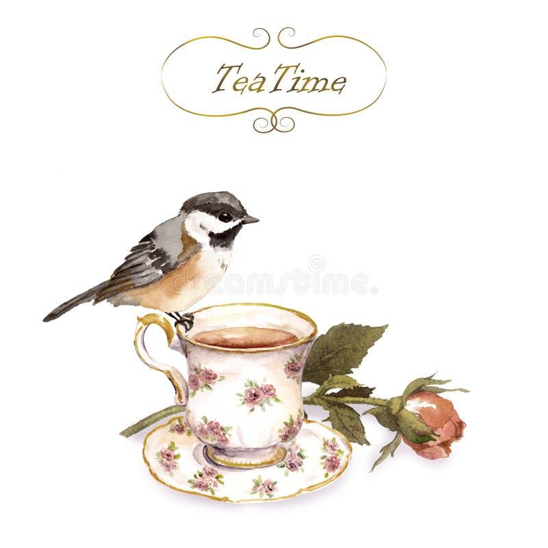 Cartão com projeto retro - pássaro do convite do vintage, copo de chá, flor em botão cor-de-rosa na cor gasto ilustração stock