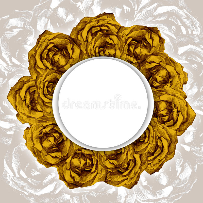Cartão com quadro da grinalda de rosas amarelas tiradas ilustração stock
