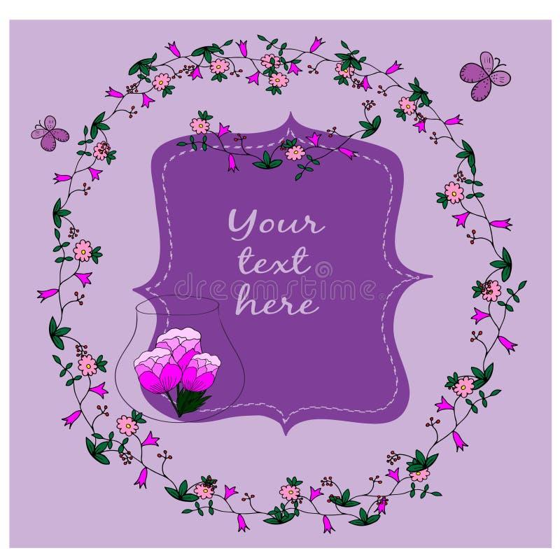 Cartão com quadro e as flores desenhados à mão ilustração do vetor