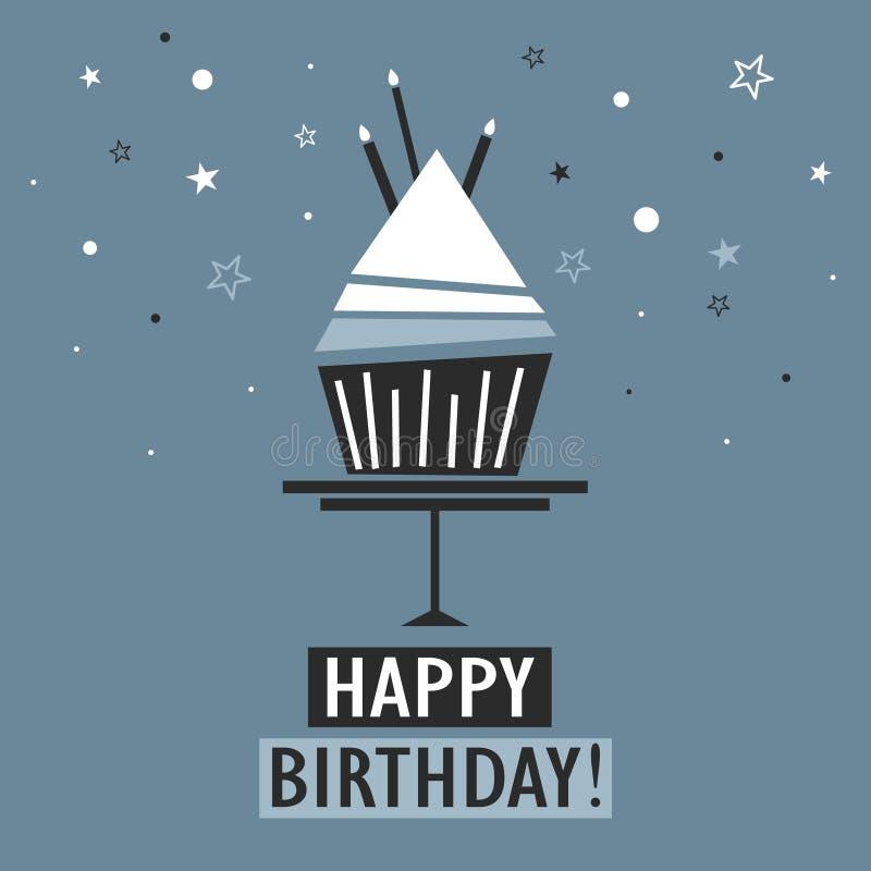 Cartão com queque, texto, velas, estrelas Feliz aniversario! ilustração stock