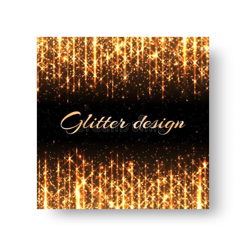 Cartão com raios dourados ilustração royalty free