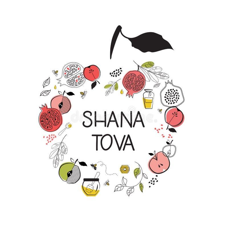 Cartão com símbolos do feriado judaico Rosh Hashana, ano novo bênção do ano novo feliz no hebraico, tova do shana ilustração stock