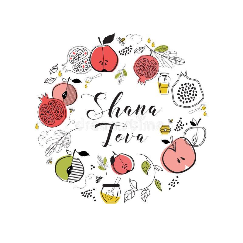 Cartão com símbolos do feriado judaico Rosh Hashana, ano novo bênção do ano novo feliz, tova do shana Vetor ilustração royalty free