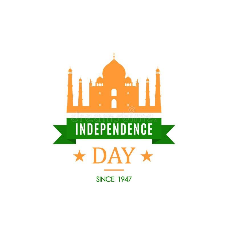 Cartão com a silhueta de Taj Mahal Dia da Independência de Índia, o 15 de agosto ilustração do vetor