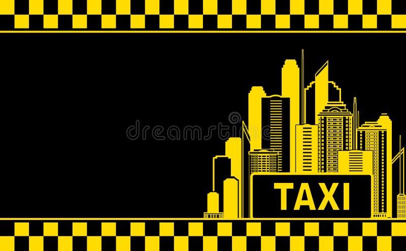 Cartão com táxi e cidade da noite ilustração do vetor