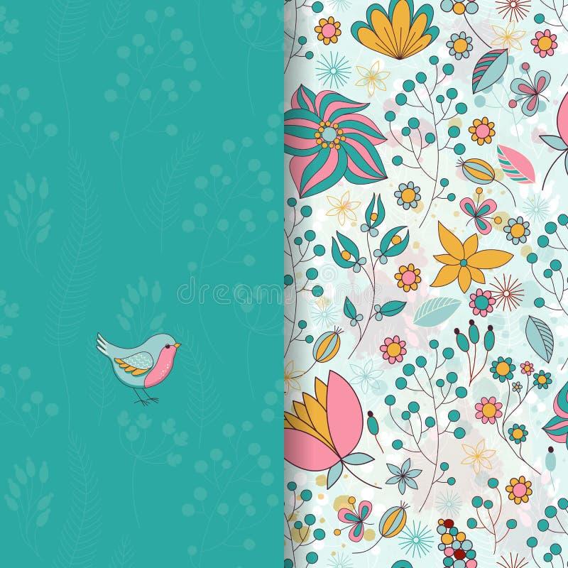 Cartão com teste padrão floral redondo ilustração royalty free