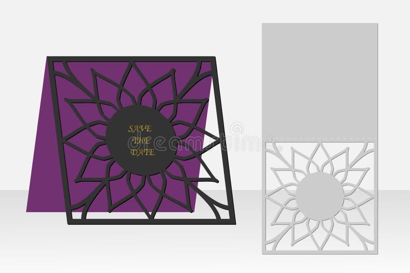 Cartão com teste padrão geométrico floral para o corte do laser Projeto da silhueta ilustração do vetor