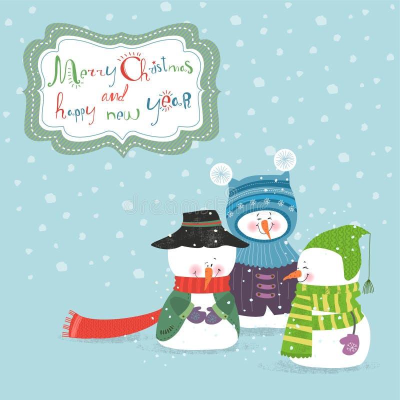 Cartão com três bonecos de neve ilustração do vetor