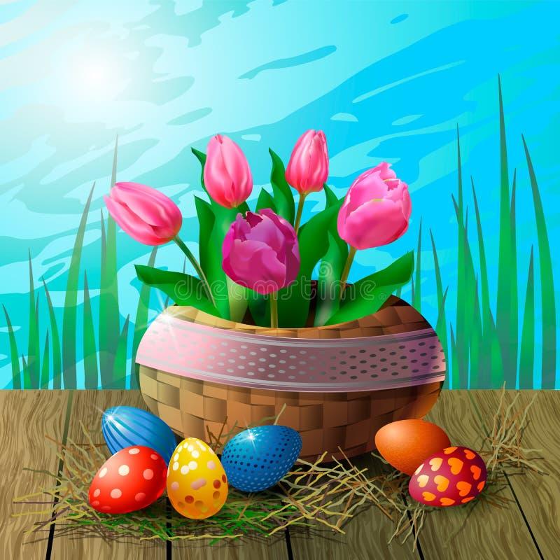 Cartão com tulipas em uma cesta de vime e ovos da páscoa em uma tabela de madeira na perspectiva da grama e do céu ilustração stock