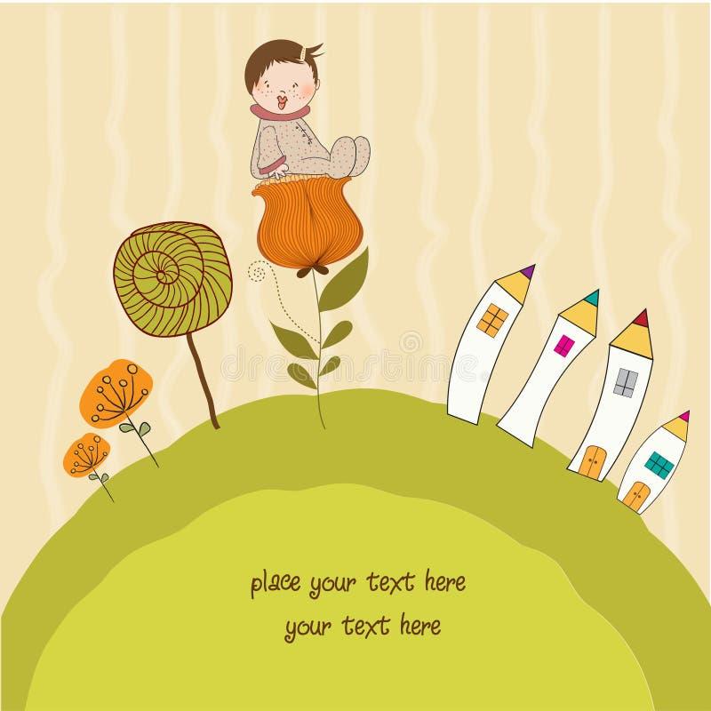 Cartão com um bebê que senta-se em uma flor ilustração do vetor