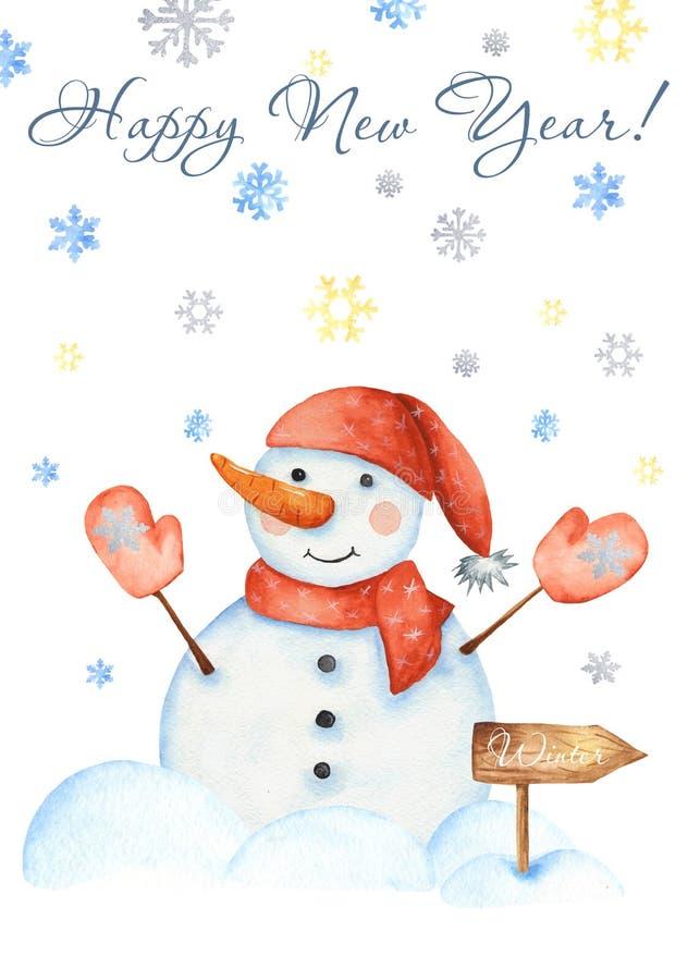 Cartão com um boneco de neve, flocos de neve do inverno da aquarela, brinquedos do Natal, montes de neve ilustração stock