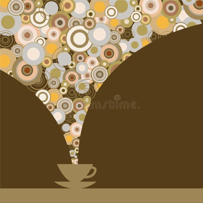 Cartão com um copo do café perfumado em um fundo marrom ilustração stock