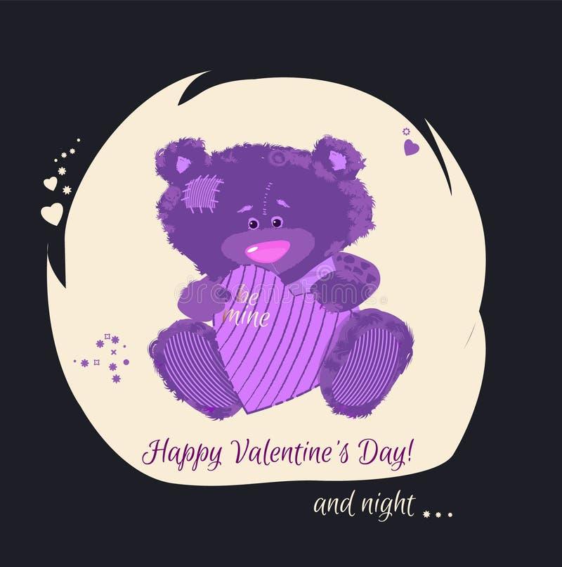 Cartão com um filhote de urso Um urso pequeno é um brinquedo O dia do ` s do Valentim é uma letra do feriado Desenhos animados do ilustração royalty free