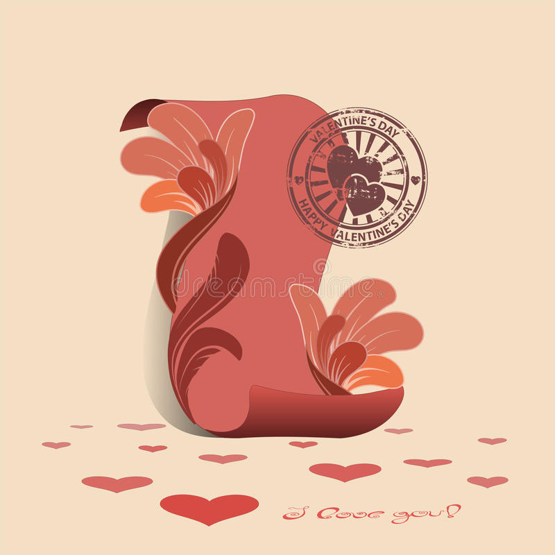 Cartão com um pergaminho cor-de-rosa e um selo ilustração stock