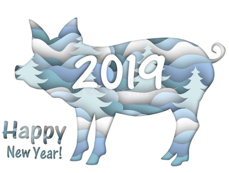 Cartão com um porco do ano novo ilustração royalty free