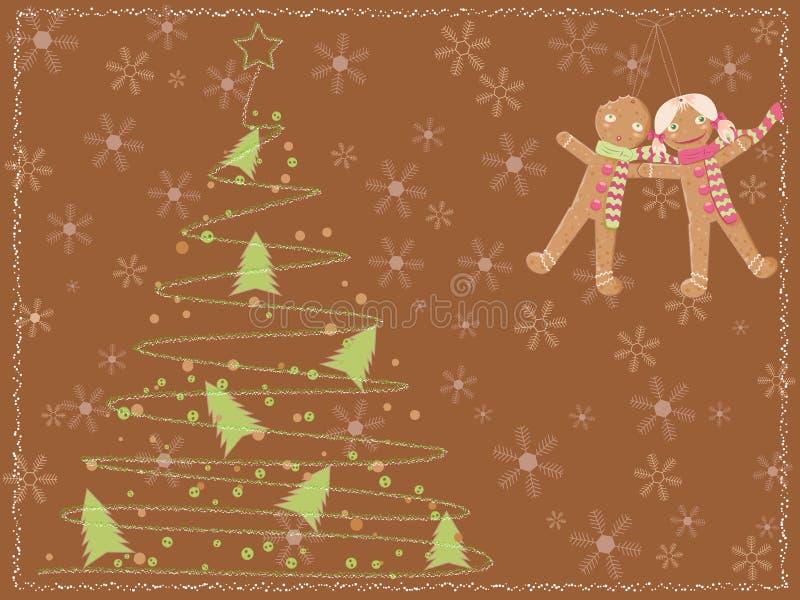 Cartão com uma árvore de Natal e os miúdos do pão-de-espécie ilustração royalty free