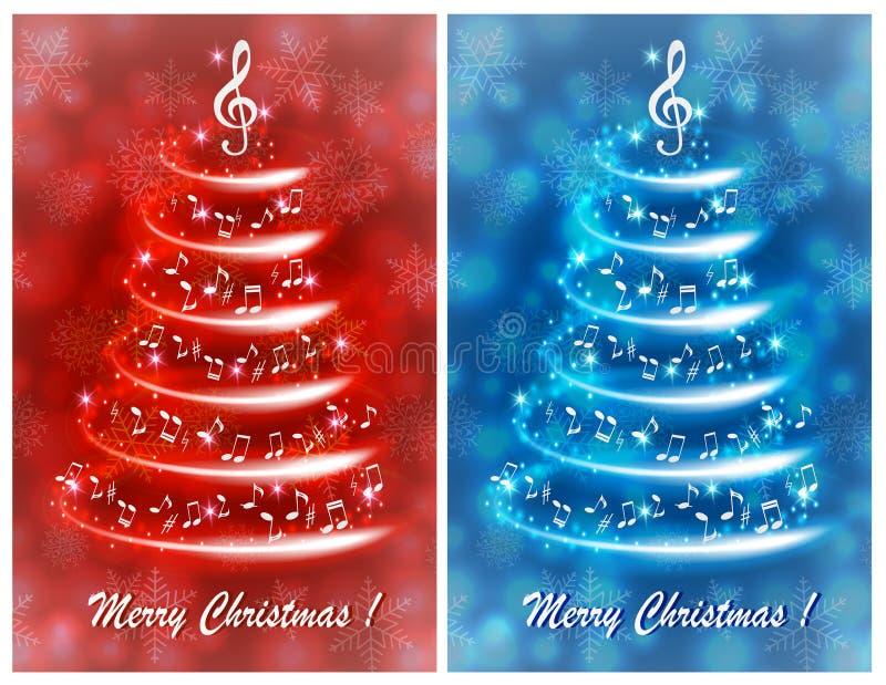 Cartão com uma árvore de Natal musical abstrata, com notas e clave de sol ilustração do vetor