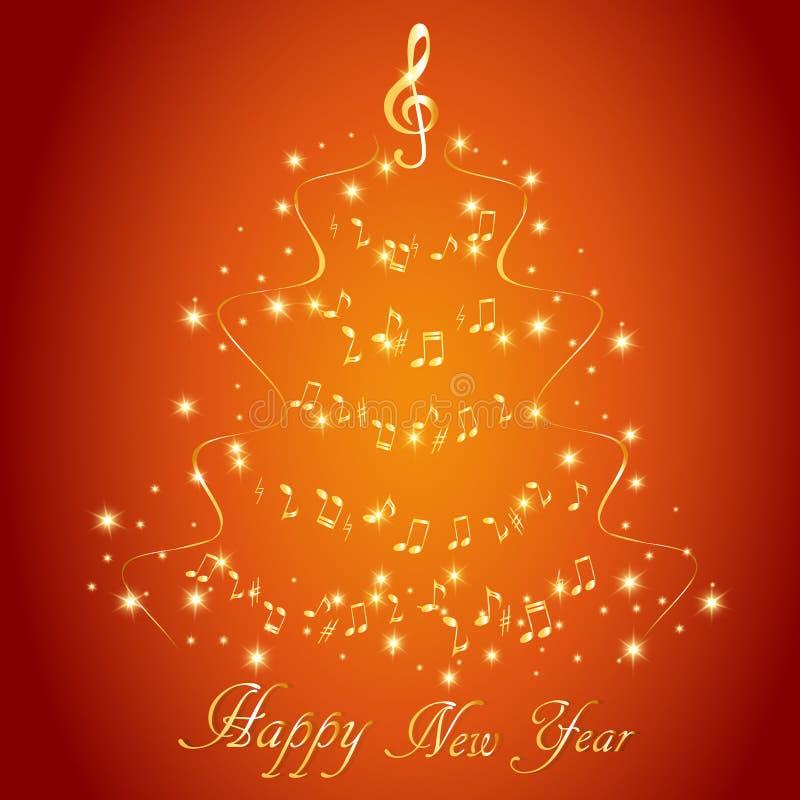 Cartão com uma árvore de Natal musical abstrata, com notas e clave de sol ilustração royalty free