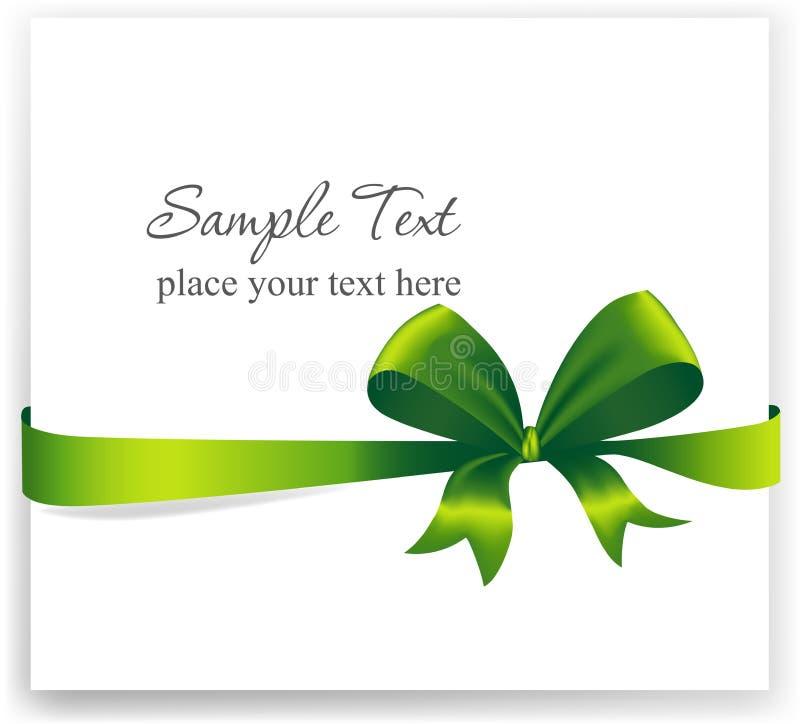 Cartão com uma fita verde ilustração do vetor