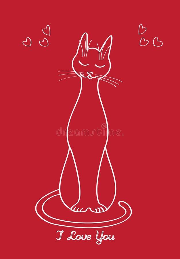 Cartão com uma silhueta do gato no dia ou no casamento do ` s do Valentim fotografia de stock royalty free