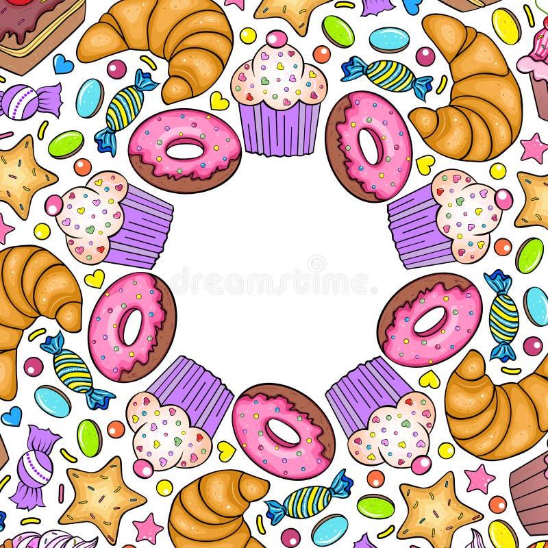 Cartão com vários doces ilustração royalty free