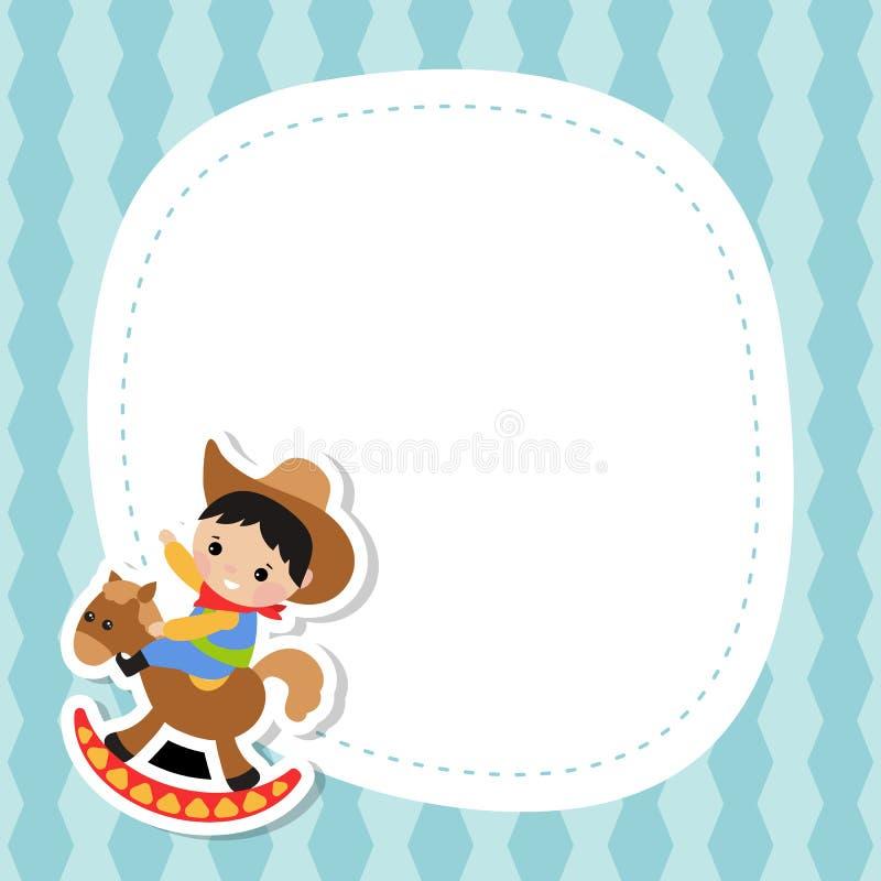 Cartão com vaqueiro pequeno ilustração stock