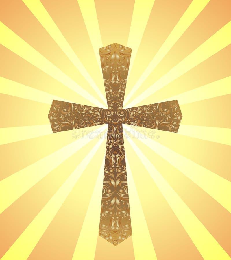 Cartão com vintage Christian Cross e raios do sol ilustração royalty free