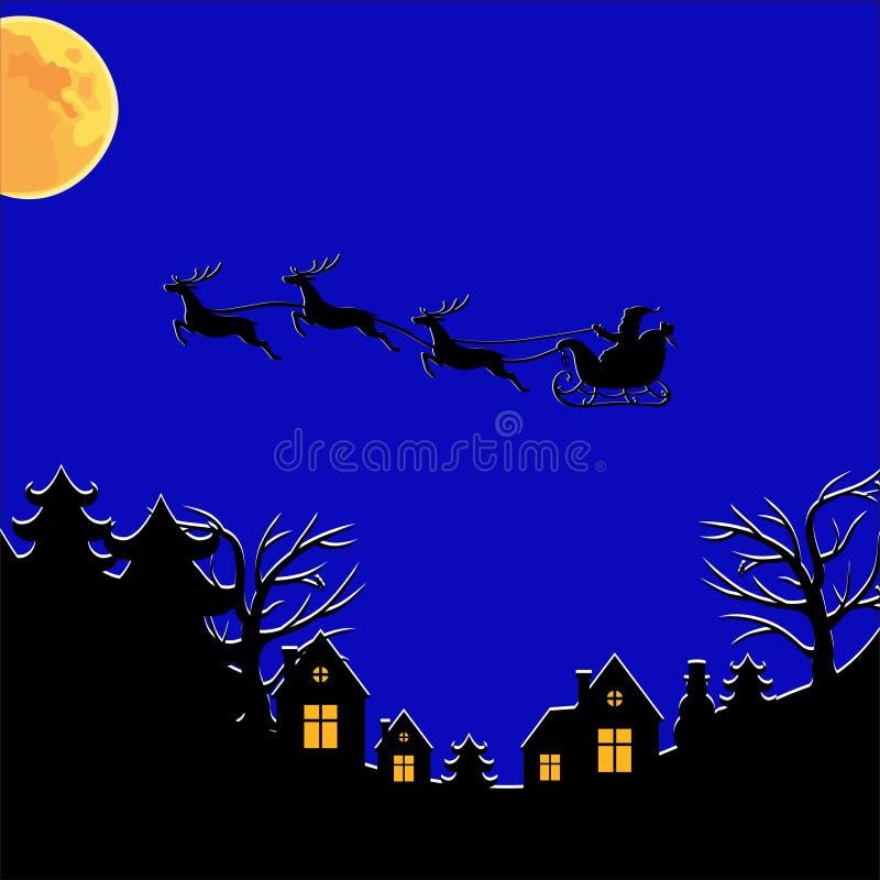Cartão congratulatório do Natal com a Santa no trenó no céu de noites ilustração stock