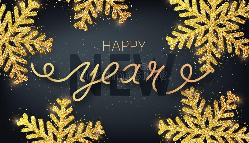 Cartão, convite com ano novo feliz 2019 Mão escrita ilustração stock