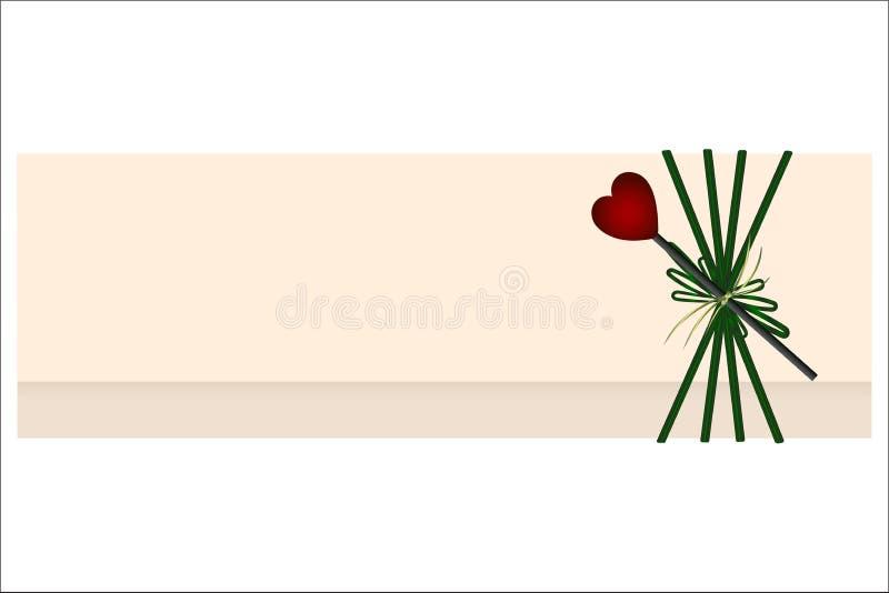 cartão cor-de-rosa com coração imagem de stock royalty free