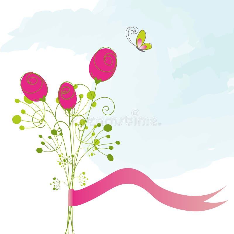 Cartão cor-de-rosa da borboleta do vermelho abstrato ilustração stock