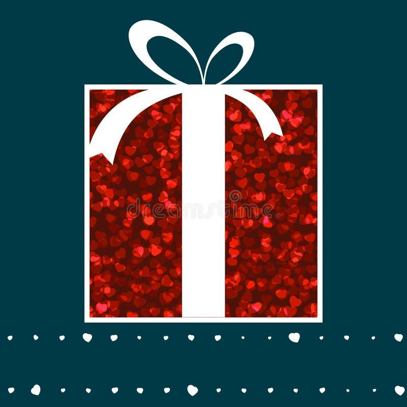 Cartão cor-de-rosa da caixa de presente e do Valentim dos corações. EPS 8 ilustração do vetor