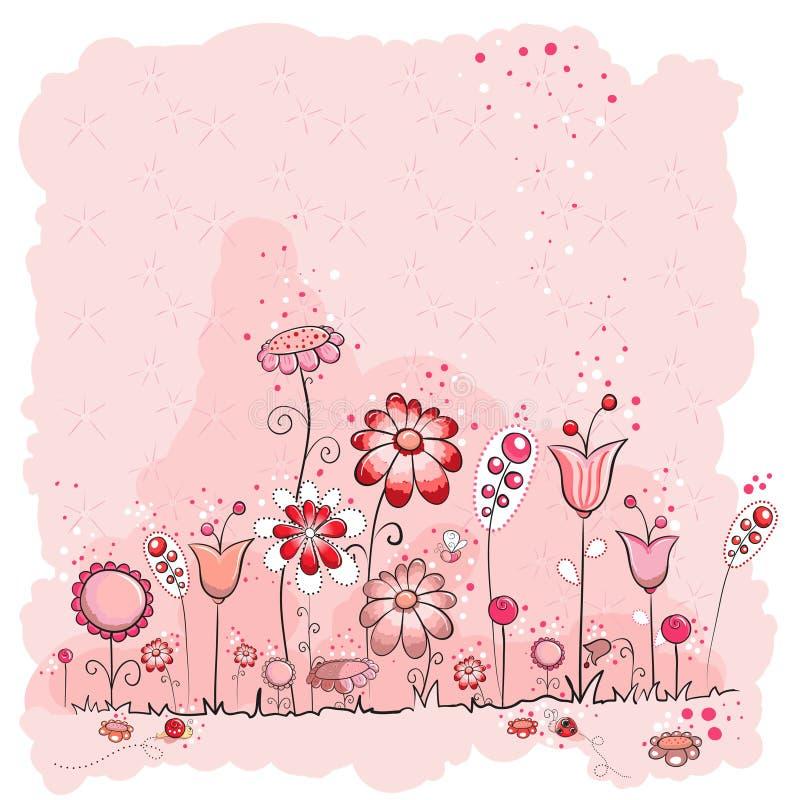 Cartão cor-de-rosa das flores e dos insetos